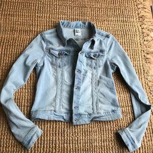 H&M Light Washed Lightly Distressed Denim Jacket